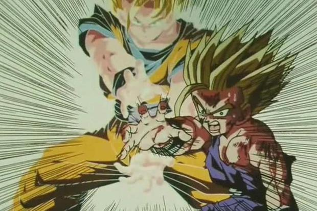 Father and son Kameham Ha is one of the most remembered scenes in the Dragon Ball Z movie.  (Toei Animation)
