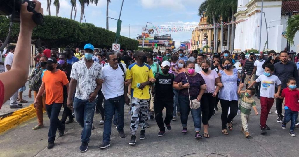 Cuban migrants join a demonstration in Tapachula: 'We are not criminals'
