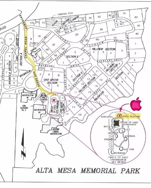 A map of the supposed location of Steve Jobs' grave