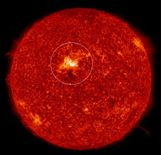 The solar flare is directed towards the Earth and does not come alone
